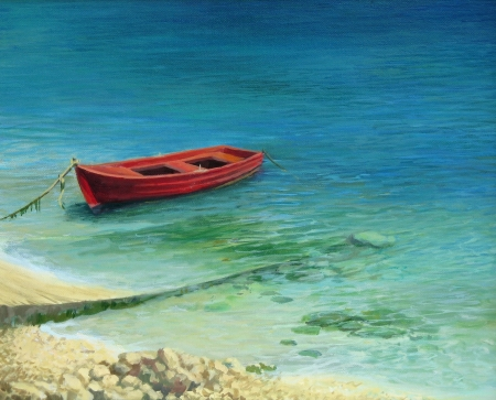 greece shoreline: Fishing boat in crystal clear waters near Paleokastritsa on island Corfu, painted on the canvas by me, Kiril Stanchev .