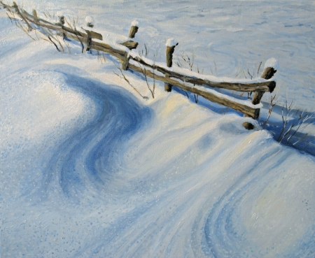 rural scene: An oil painting on canvas of a rural fence buried under the fresh deep snow, sparkling in the sunshine of a cold winter morning high up in the mountains. A seasonal scene with a pure nature feeling.