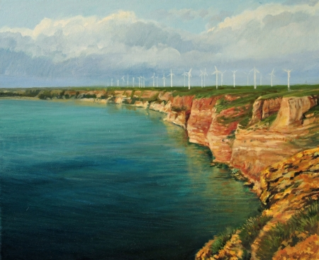 bulgaria:  An oil painting on canvas of a panoramic sea view on cape Kaliakra in Bulgarian seaside. The bay is glowing with crystal clear emerald waters and reflections of the reddish cliffs. Stock Photo