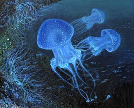 An oil painting on canvas of an underwater ocean dive with fluorescent blue dotted jellyfish.