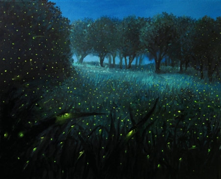 firefly: An oil painting on canvas of a Night Scene with fireflies and forest meadow shining in bright blue by the moon light, creating a fairy tale feeling about the landscape.