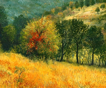 An oil painting on canvas of a colorful autumn rural landscape with multi colored old pear tree, growing on a sunny meadow near the forest.