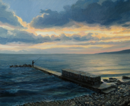 An oil painting on canvas of a late afternoon seascape with a colorful sunset and a fisherman standing at the end of the waterfront quay  Stok Fotoğraf