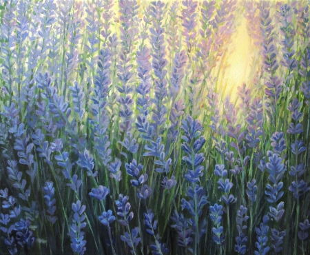 An oil painting on canvas of a violet lavender bush blooming in the last rays of the sun at dusk  Sunset light is giving a warm nuance passing through the blossoms