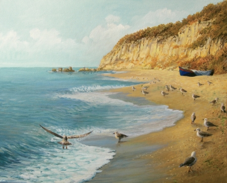 birds scenery: An oil painting on canvas of a summer at the ocean shore  Secluded beach as a realm of tranquility, with a fishing boat in the distance and seagulls on the sand