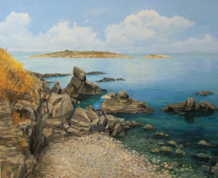 coastlines: An oil painting on canvas of a bright summer seascape with tourists sunbathing on the rocks near Sozopol in Bulgaria and small island in the distance