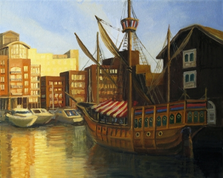 An oil painting on canvas of a late afternoon sunset view at the famous St  Katharine docks in London with preserved old sail ship and yacht marina near Thames river