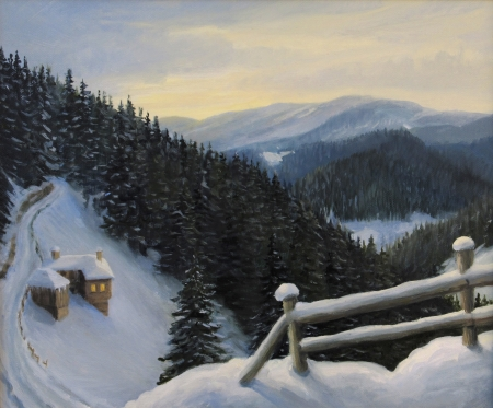 realism: An oil painting on canvas of a winter fairytale magic scene in Rhodope Mountains, Bulgaria with an old house nestled in the snow on the steep slope near the forest  Stock Photo