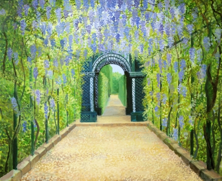 arbor: An oil painting on canvas of a romantic garden walkway forming a tunnel of flowering acacias at Schonbrunn Palace in Vienna, Austria