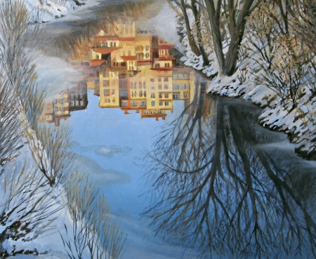An oil painting on canvas of a winter scene with colorful buildings reflection in a partly frozen mountain river  photo