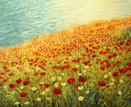 An oil painting on canvas of a tranquil scene at the sea coast  High above the water surface a carpet full of red poppies and white daisies is blooming in the late spring afternoon  photo