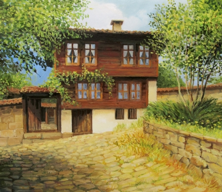 restored: An oil painting on canvas of an old historical house in the small rural town Kotel, Bulgaria at the begining of the autumn