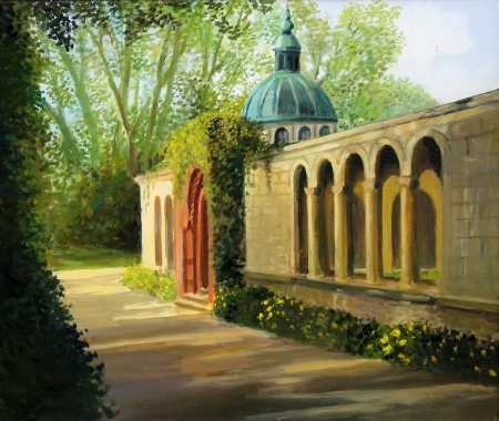 An oil painting on canvas of a peaceful late spring afternoon in the gardens of the famous Sanssouci palace, in Potsdam near Berlin in Germany