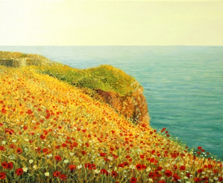 fine art painting: An oil painting on canvas of a beautiful seascape with vivid red poppies at the Black sea coast in the warm light of the sunset  Stock Photo
