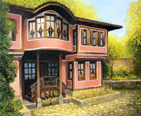 An oil painting on canvas of a traditional old rural house in Koprivshtica, Bulgaria in a bright day during the early autumn