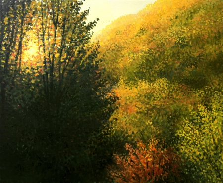 An oil painting on canvas of a bright sunrise over the slope of the mountains, bathing the landscape with warm light  A colorful autumn pure nature theme  photo
