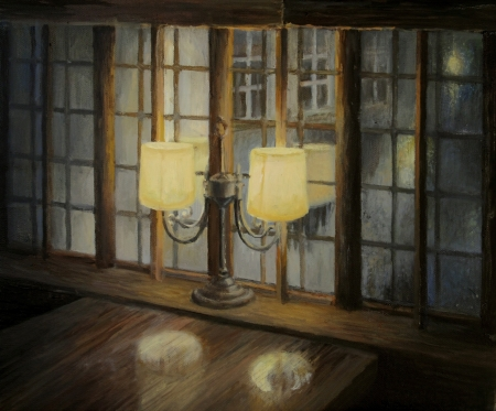 dark room: An oil painting on canvas of an interior in a small cozy restaurant for a romantic date with a loved one Stock Photo