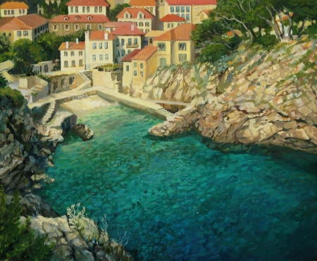 cove: An oil painting on canvas of a small peaceful sea cove, near by the old city of Dubrovnik in Croatia with crystal clear emerald waters
