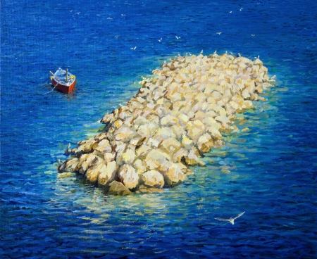 An oil painting on canvas of a small row boat floating in a peaceful, crystal clear water bay, near Amalfi coast in a bright summer day. Stok Fotoğraf