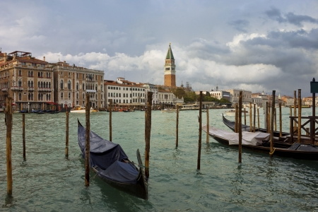 Colorful view of The Grand canal in Venice with the Campanile on St Mark's Square at the background. Stock Photo - 17329423