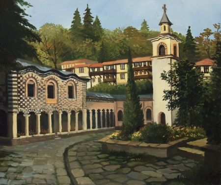ortodox: An oil painting on canvas of the ortodox church in the old part of Blagoevgrad, Bulgaria.