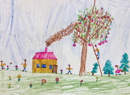 Childs drawing of a happy family living in the countryside. Original drawing of a 6 years old kid.