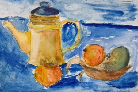 etude: Original watercolor drawing of 11 years old kid of a kettle and apples on blue background.  Stock Photo
