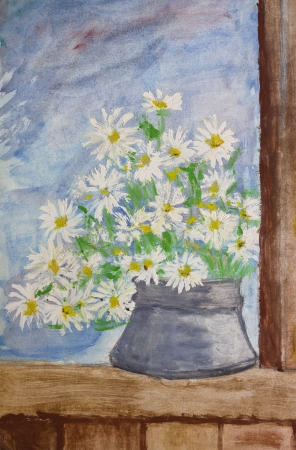Still life painting with tempera paints of a nice bouquet of daisies over a bright blue background. Painting done by 11 years old kid. photo