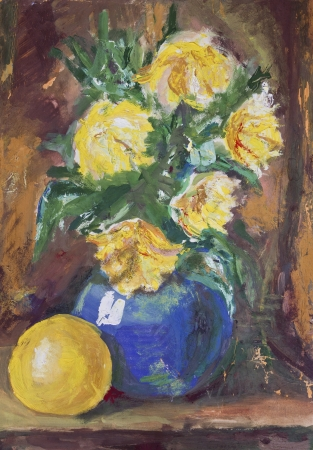 Peinture à La Détrempe Sur Un Joli Bouquet De Fleurs Jaunes Dans Un Vase  Bleu Sur