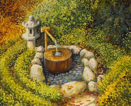 garden lamp: An oil painting on canvas of a tranquil scene in traditional Japanese garden with a stone lantern and water basin. Serene scene in the beginning of the autumn.