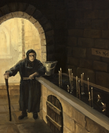An oil painting on canvas of an old woman, who lights a candle in the church with faith in the God and the future. photo