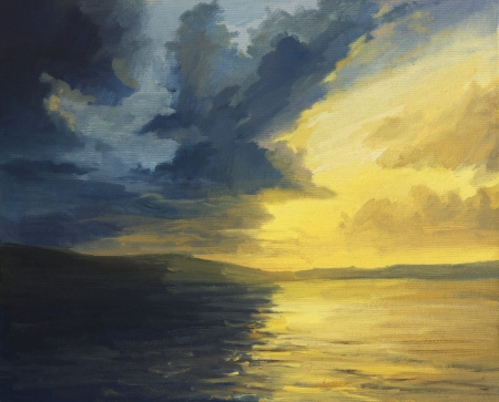 An oil painting on canvas of a dramatic high contrast sunset seaview. A battle between the warm light and the dark shadows on the water surface. photo