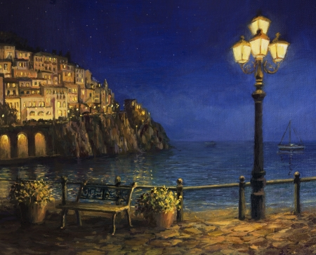 oil lamp: An oil painting on canvas, of a starry romantic evening at the coast of Amalfi in Italy. Tranquil scene with calm waters, city lights and a lamp post at the front.  Stock Photo