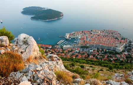 Panoramic view of the Old Town Dubrovnik and Island Lokrum from the mountain Srd.