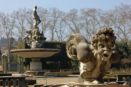 Detail of Isolotto in Boboli Gardens in Florence, Italy