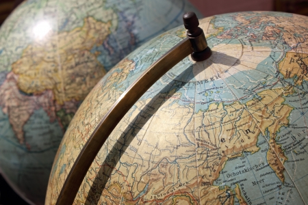 Vintage Globes with the concept of traveling and exploring new places.