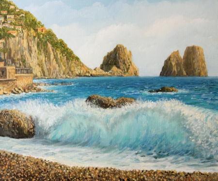capri: Faraglioni Rock formation on island Capri in Naples Bay area with a crystal clear wave painted on the canvas by me, Kiril Stanchev Stock Photo