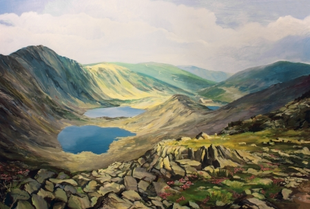 View from the mountain peak Musala in Bulgaria, toward Rila Lakes and the hut in the distance, painted on the canvas by me, Kiril Stanchev . photo