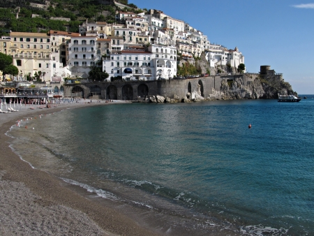 sorrento: View from the beach in Amalfi, Italy
