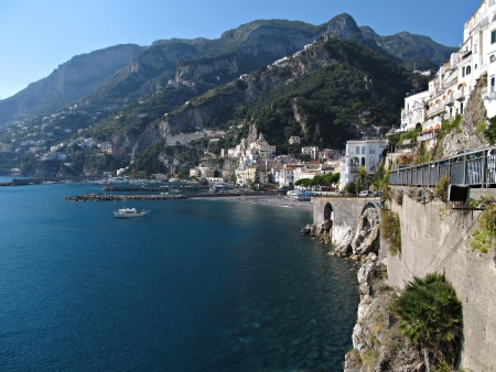 A panoramic view of Amalfi, the pearl of Amalfi coast  photo