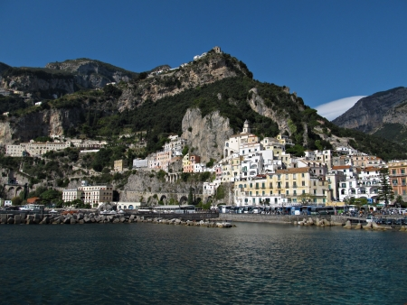 View from the sea toward town of Amalfi in Italy  photo