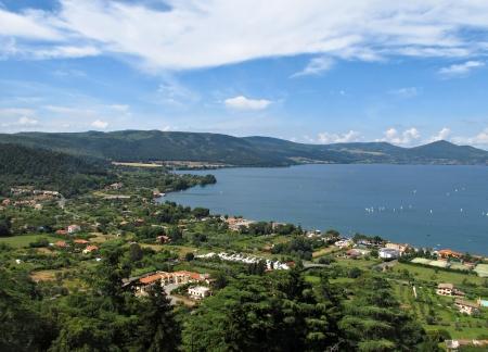 Lago di Bracciano view from the castle wall of Castello Orsini-Odescalchi