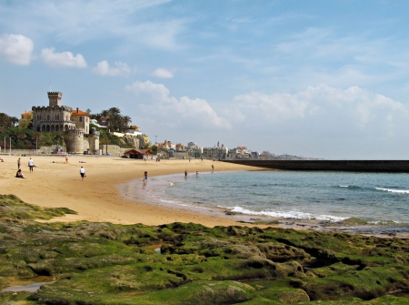 Famous beach in Estoril, Portugal in a sunny day in the beginning of the season  Stok Fotoğraf