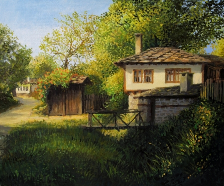 Warm light late afternoon rural landscape in the mountain village Bojenci, painted on the canvas by me, Kiril Stanchev . photo