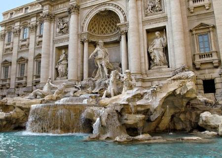 Angle shot of the famous Fontana di Trevi in Roma. photo