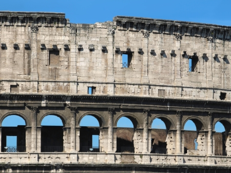 archaeology: Detail of the famous landmark - The Colosseum in Rome, Italy. Stock Photo