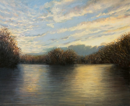 An oil painting on canvas of a peaceful lake landscape enlighten by the last sunbeams of a bright autumn day with colorful reflections on the water surface.