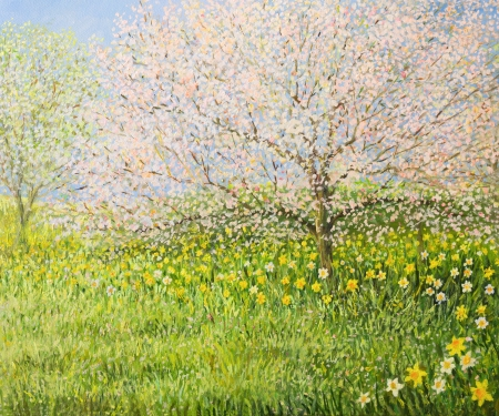An oil painting on canvas of a springtime natural landscape with blooming trees and colorful meadow full of daffodils. photo