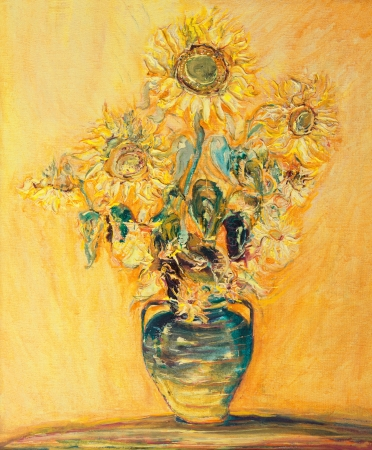 An oil painting on canvas of bright colorful Sunflowers bouquet over a yellow orange background.   Stok Fotoğraf