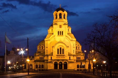 sofia: Early morning shot of the famous cathedral church Saint Alexandar Nevsky in Sofia, Bulgaria just before sunrise.